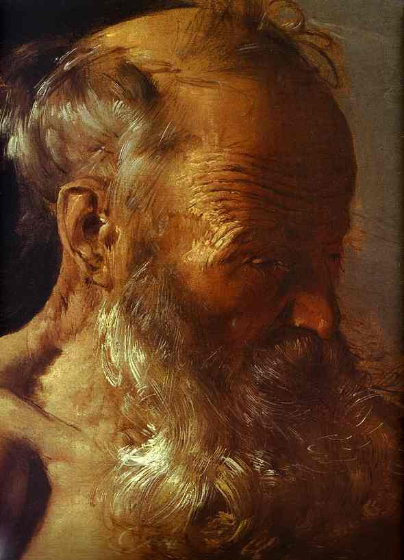 Oil painting:Repenting of St. Jerome. Detail. 1628
