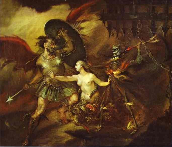 Oil painting:Satan, Sin and Death. 1735