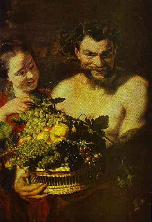 Oil painting:Satyr and Girl with a Basket of Fruit.