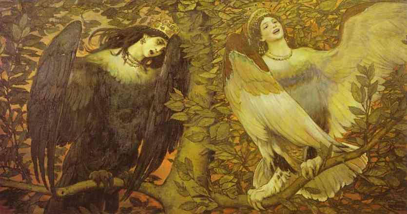 Oil painting:Sirin and Alkonost; The Birds of Joy and Sorrow. 1896