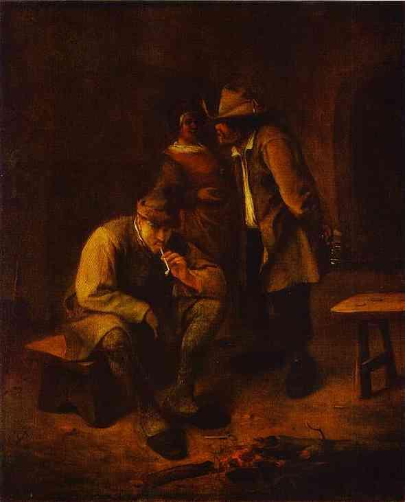 Oil painting:Smoker. 1650