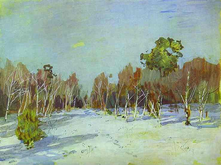 Oil painting:Snowbound Garden. 1880