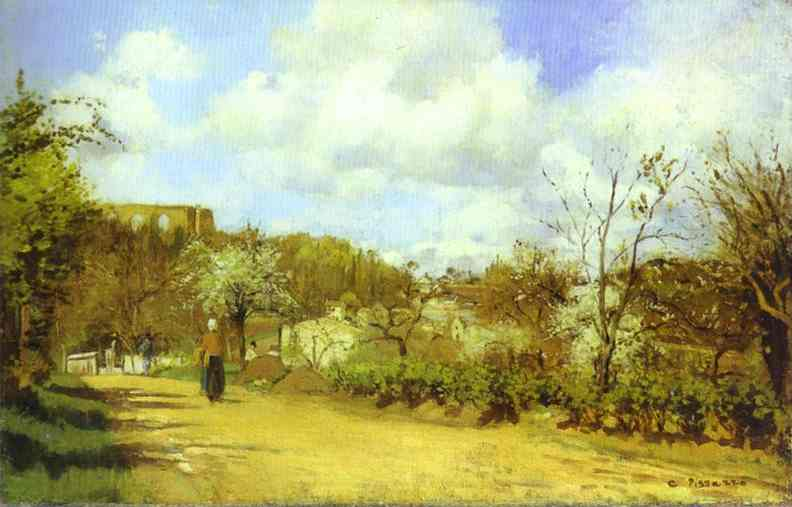 Oil painting:Spring in Louveciennes. c. 1870