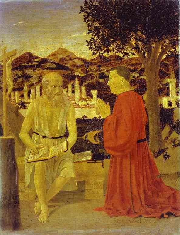 Oil painting:St. Jerome and a Donor. 1440