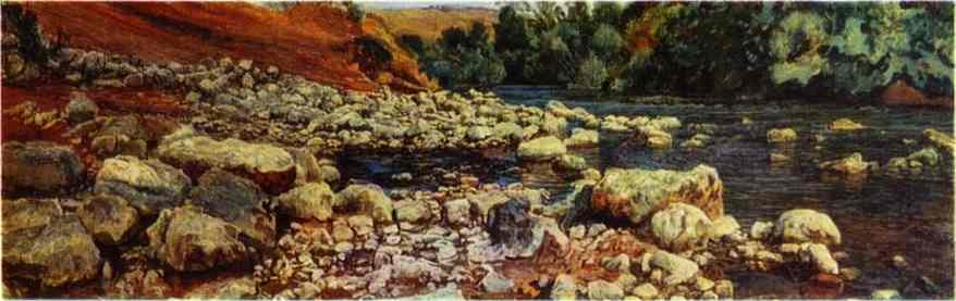 Oil painting:Stones on a River Shore. 1840
