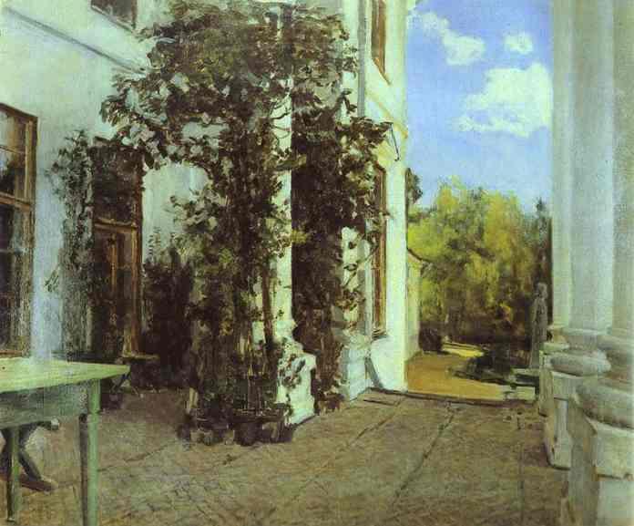 Oil painting:Terrace in Vvedensk. 1880