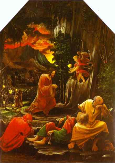 Oil painting:The Agony in the Garden (panel from the St. Florian altar). c.1515