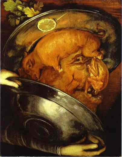 Oil painting:The Cook, a visual pun which can be turned upside down. c.1570