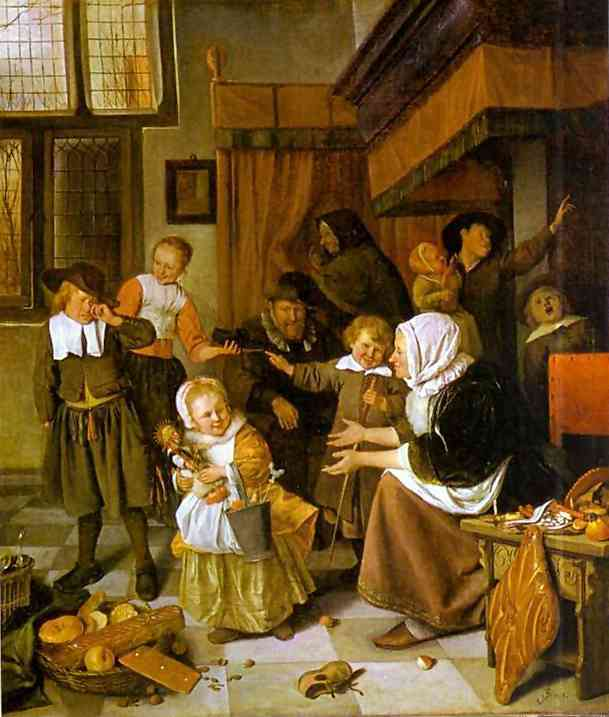 Oil painting:The Feast of St. Nicholas. c. 1660