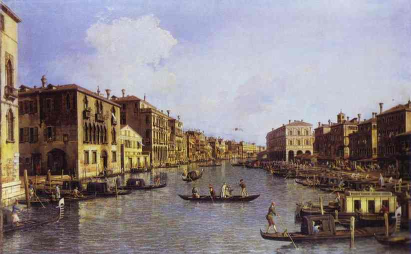 Oil painting:The Grand Canal Looking Down to the Rialto Bridge. c. 1758