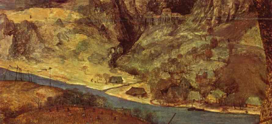Oil painting:The Return of the Herd (November). Detail. 1565