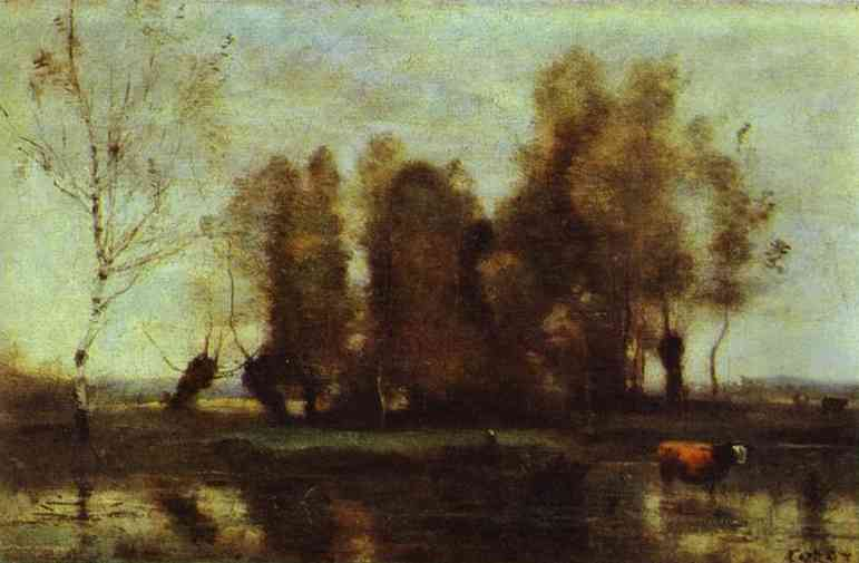 Oil painting:Trees on a Swamp. c. 1855