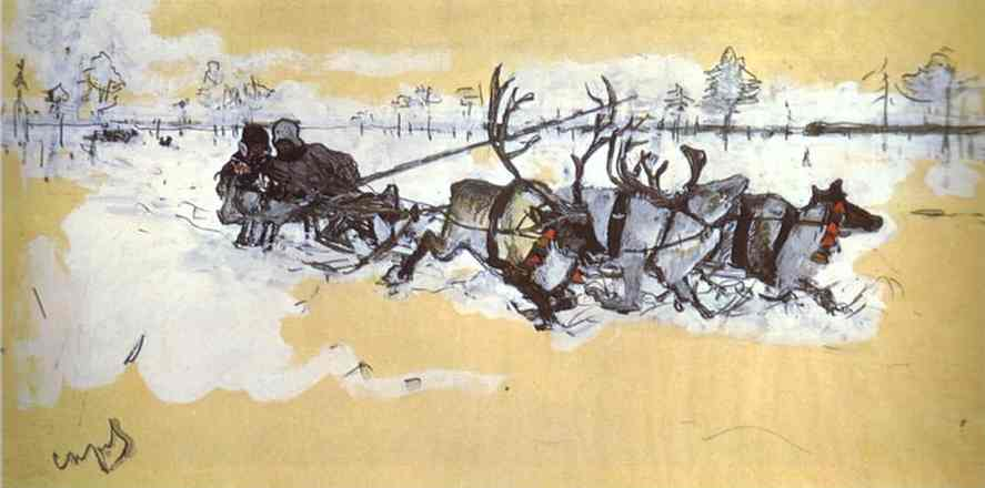 Oil painting:Tundra. Travelling by Deer. 1896