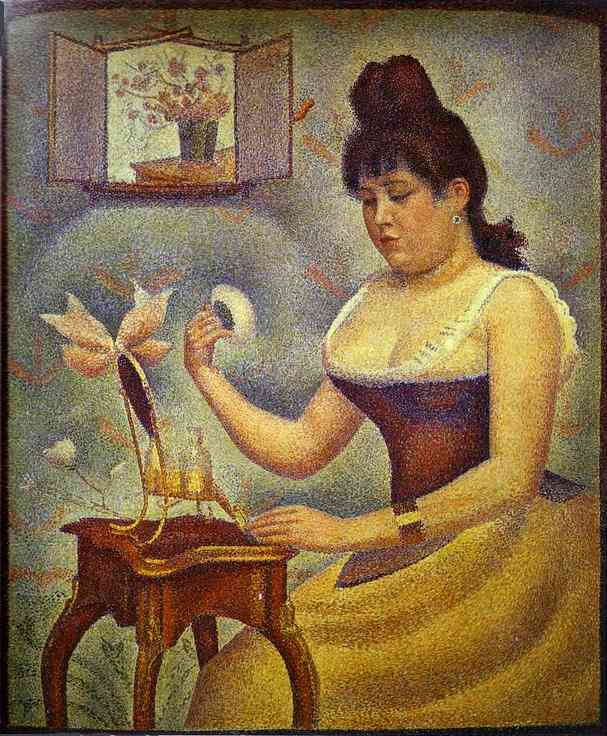 Oil painting:Young Woman Powdering Herself. c. 1888