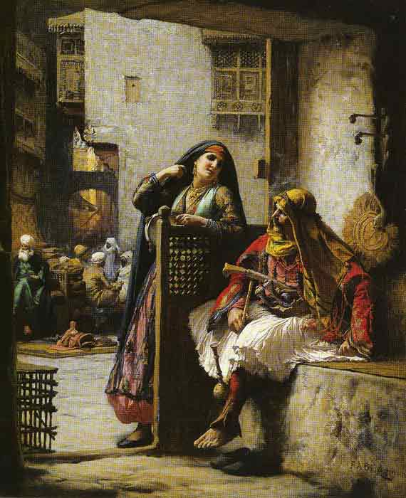 Oil painting for sale:Almeh Flirting with an Armenian Policeman, Cairo