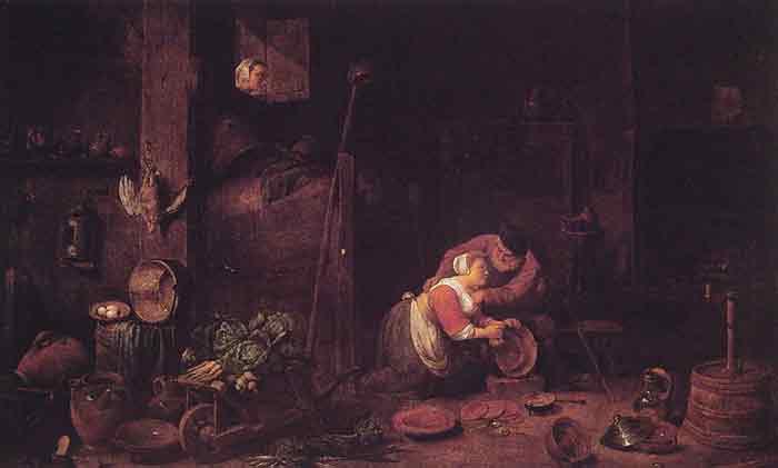 Oil painting for sale:Der Alte Und Die Kuchenmagd, 1818