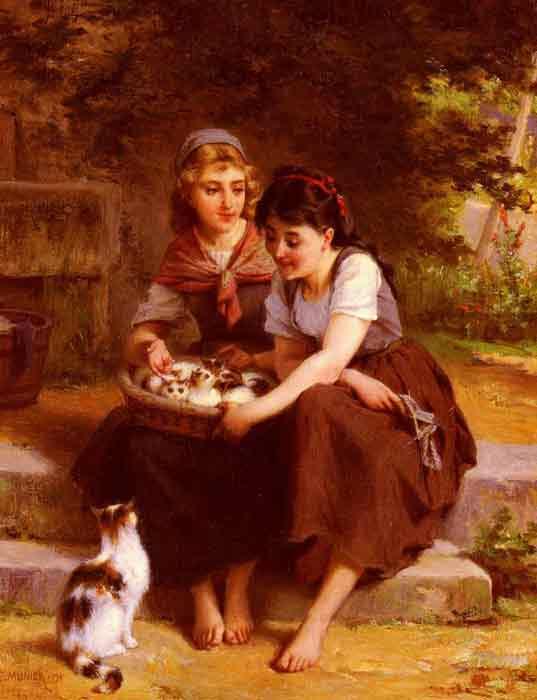 Oil painting for sale:Deux Filles Avec Un Panier De Chatons [Two Girls With A Basket Of Kittens]