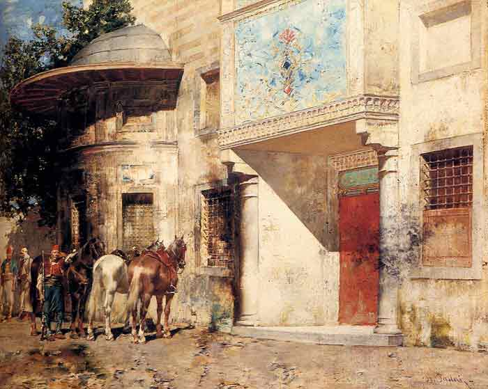Oil painting for sale:Outside The Mosque
