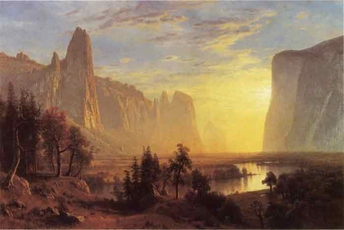Oil painting for sale:Yosemite Valley, Yellowstone Park aka Looking Down the Yosemite Valley , 1868