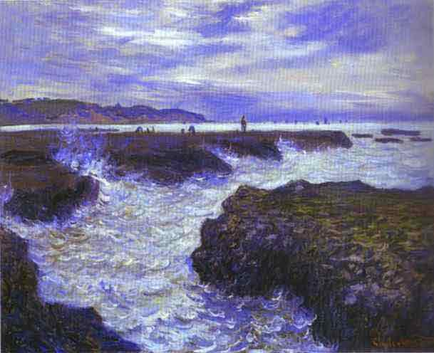 The Rocks near Pourville at Ebb Tide 1882.