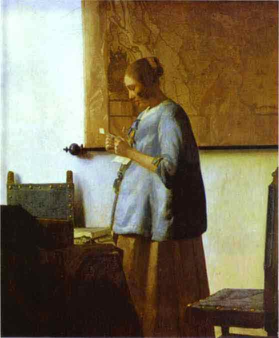 Woman in Blue Reading a Letter. c.1662