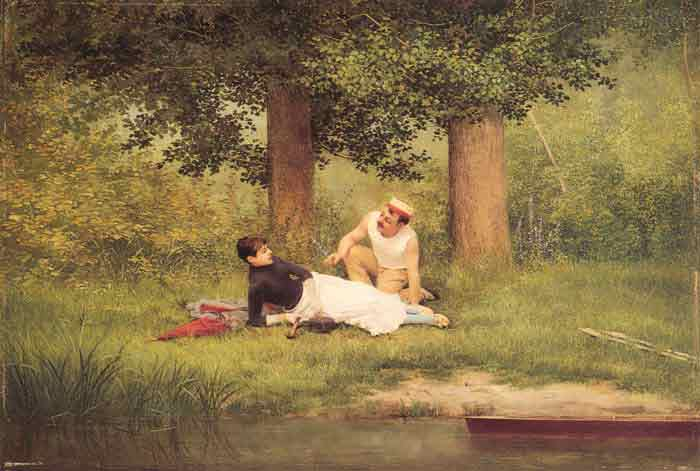 Oil painting for sale:The Flirtation, 1885