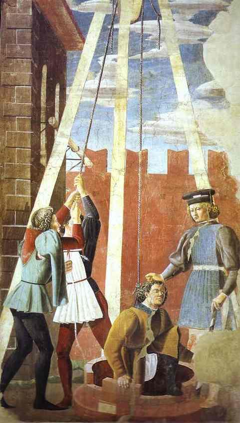 Oil painting:Giovanni da Piamonte and Piero della Francesca. Legend of the True Cross: Torment of