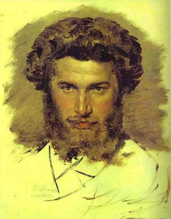 Oil painting:Portrait of the Artist Arkhip Kuinji. 1869