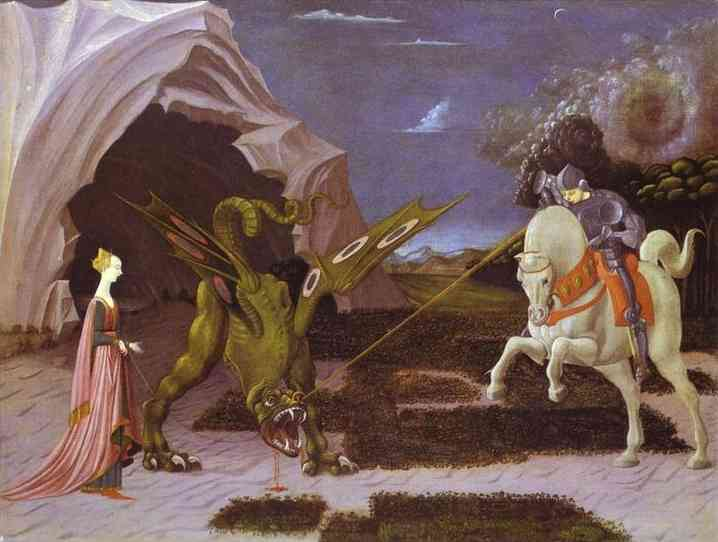 Oil painting:St. George and the Dragon. c. 1460