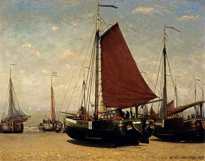 Oil painting for sale:The Bomschuit Prinses Sophie On The Beach, Scheveningen, 1870
