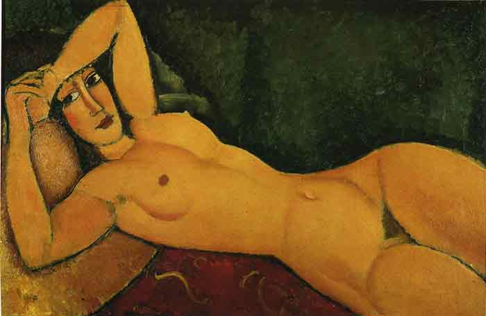 Oil painting for sale:Reclining Nude with Left Arm Resting on Her Forehead, 1917
