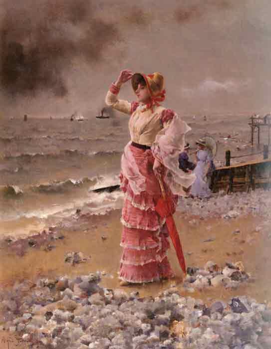 Oil painting for sale:Femme Elegante Voyant Filer Un Vapeur, 1884