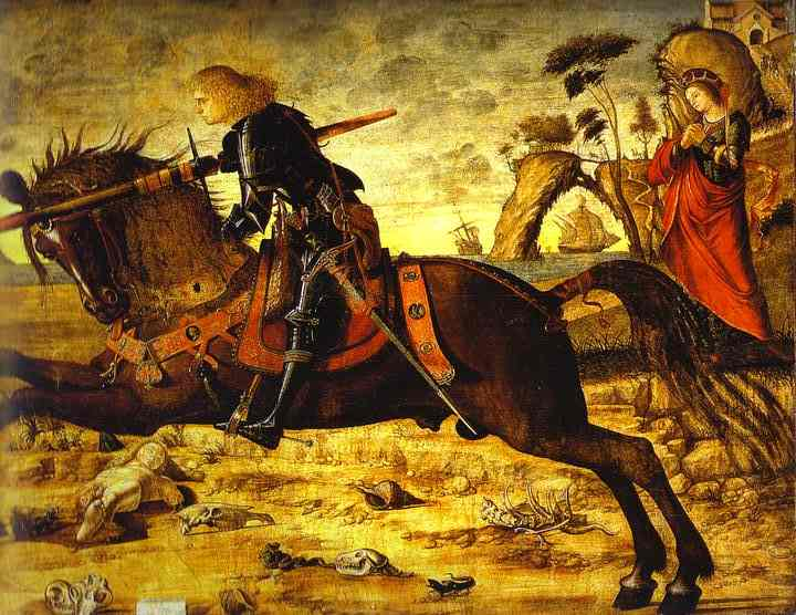 Oil painting:St. George and the Dragon. Detail. 1504