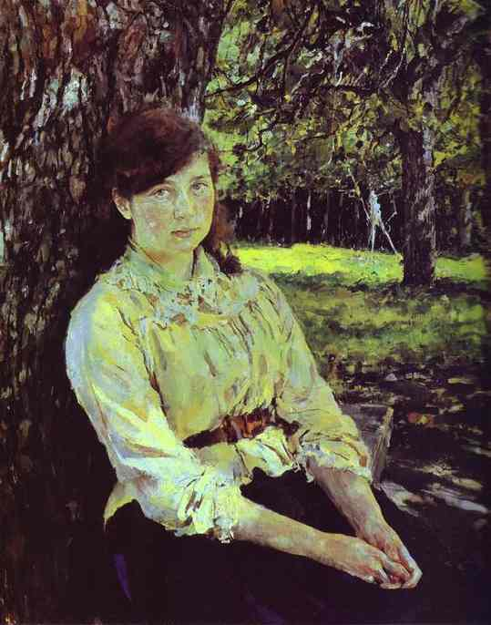 Oil painting:Girl in the Sunlight. Portrait of Maria Simonovich. 1888