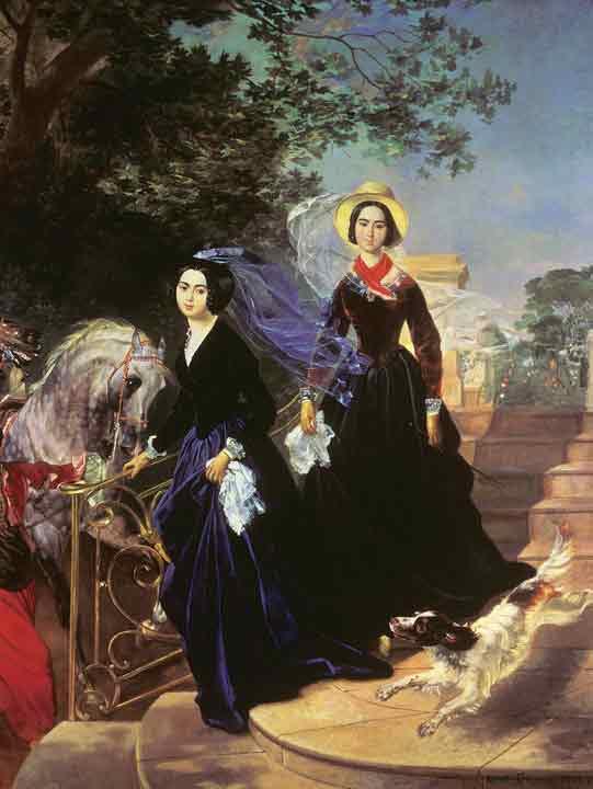Oil painting for sale:Portrait of Sisters Alexandra Shishmareva and Olga Shishmreva, 1839