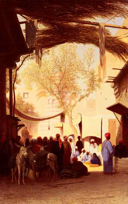 Oil painting for sale:A Market Place, Cairo