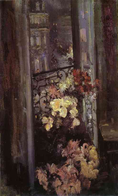 Oil painting: A Parisian Balcony. 1908