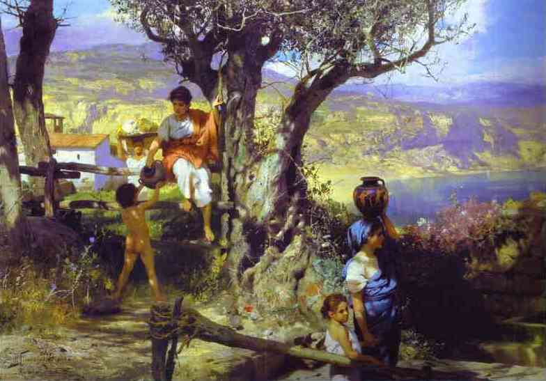 Oil painting:Ancient Rome. In a Village. 1880