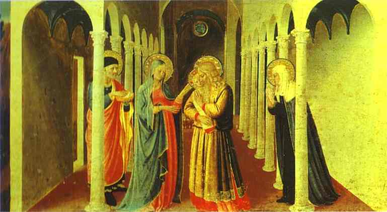 Oil painting:Annunciation. Presentation in the Temple. c.1432-1434