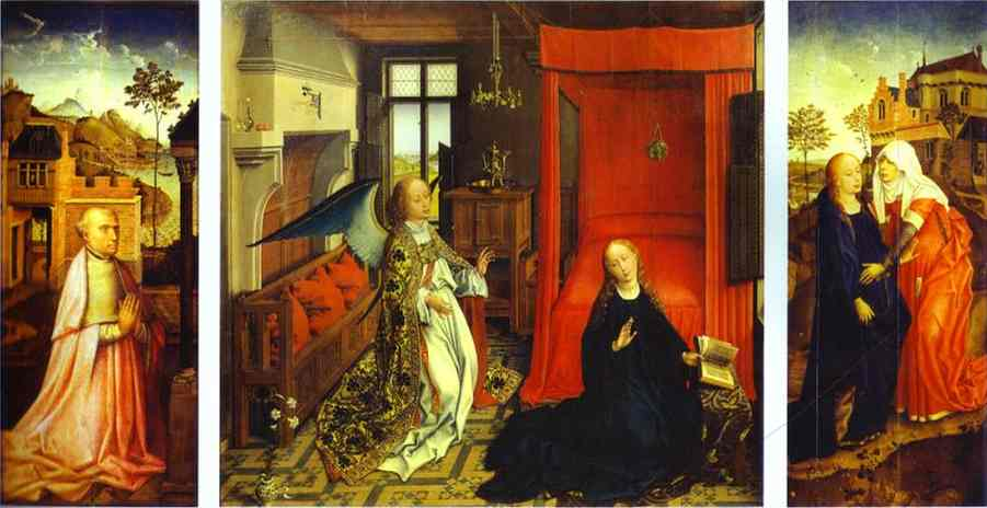 Oil painting:Annunciation Triptych. c.1440