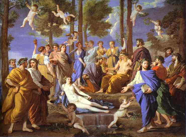 Oil painting:Apollo and Muses. 1631