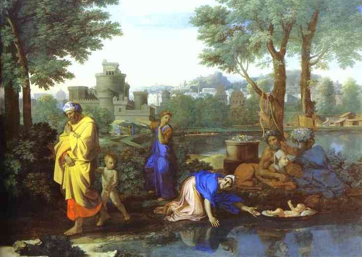 Oil painting:Baby Moses Saved from the River. 1654