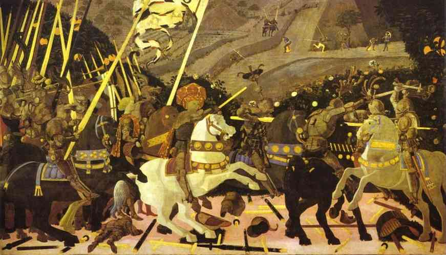 Oil painting:Battle of San Romano. Left panel. c. 1454