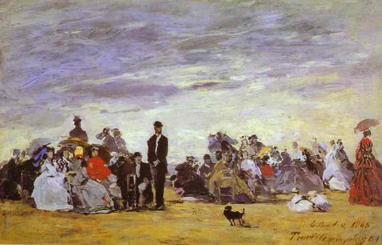 Oil painting:Beach at Trouville. 1864