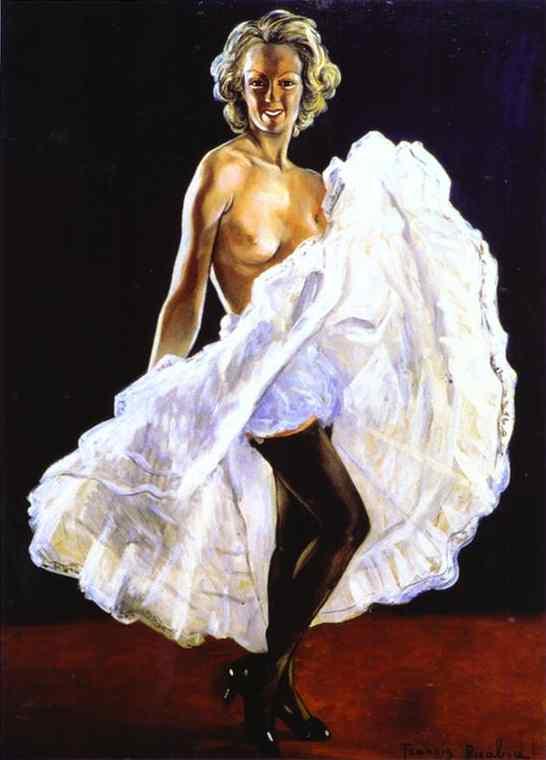 Oil painting:Dancer of French Cancan/La danseuse de french-cancan. c. 1942