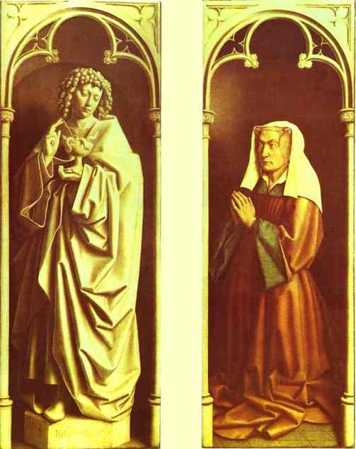 Oil painting:Donors and Saints. 1432