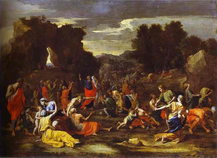 Oil painting:Gathering of Manna. 1640