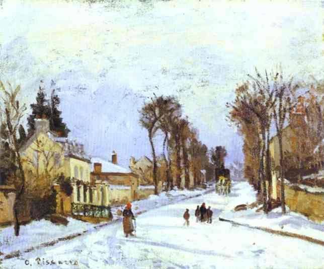 Oil painting:La Route de versailles a Louveciennes (effet de neige). 1869