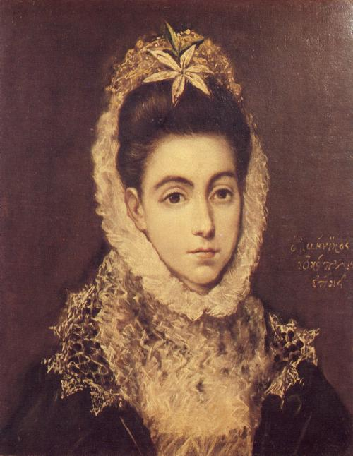 Oil painting:Lady with a Flower in Her Hair. c. 1590-1600