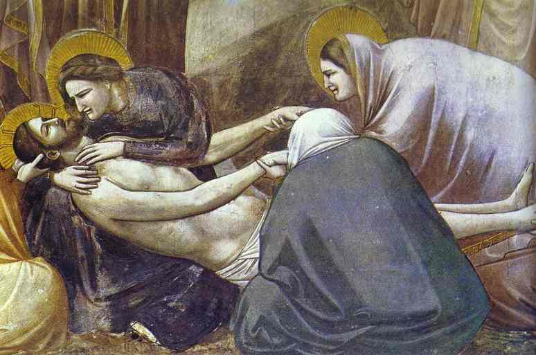 Oil painting:Lamentation. Detail. 1304